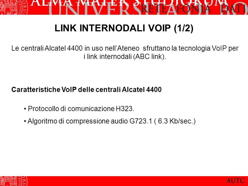 LINK INTERNODALI VOIP (1/2) Le centrali Alcatel 4400 in uso nellAteneo sfruttano la tecnologia VoIP per i link internodali (ABC link). Caratteristiche