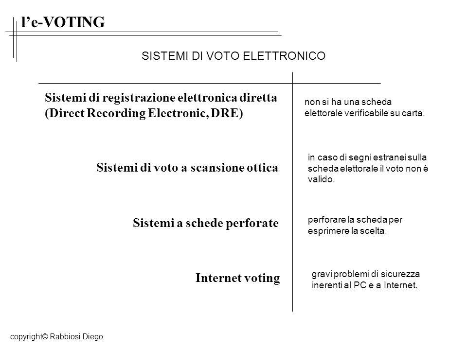 le-VOTING Sistemi di registrazione elettronica diretta (Direct Recording Electronic, DRE) Sistemi di voto a scansione ottica Sistemi a schede perforate Internet voting non si ha una scheda elettorale verificabile su carta.