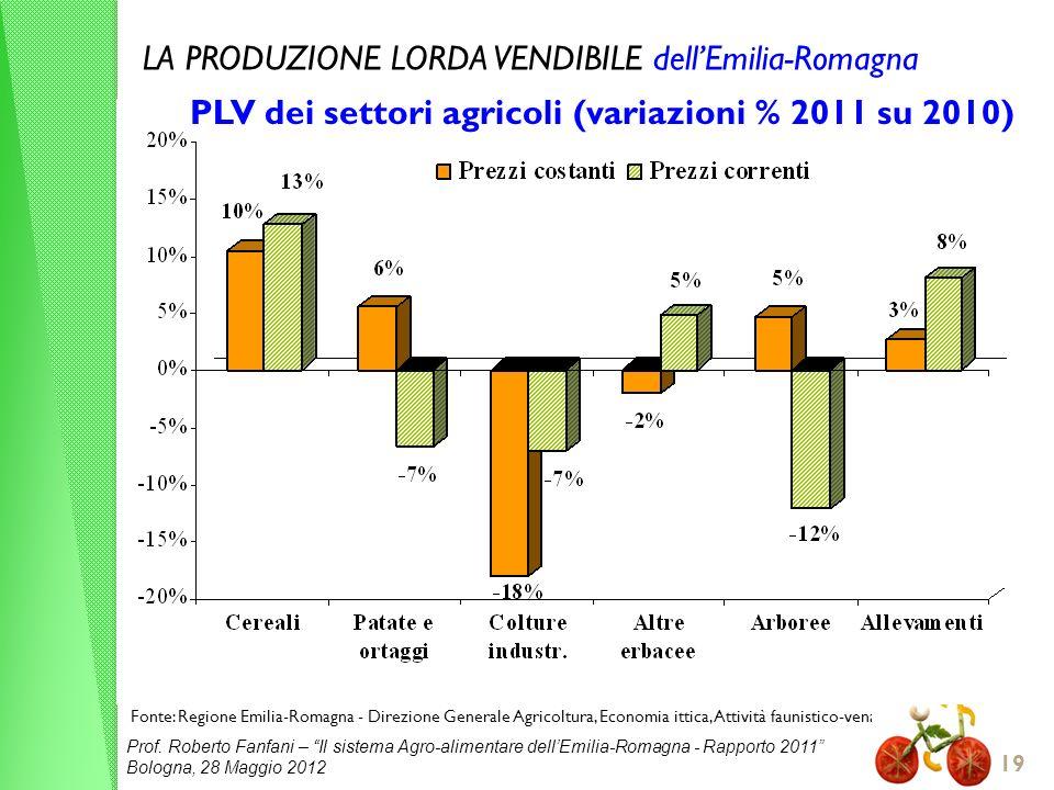 Prof. Roberto Fanfani – Il sistema Agro-alimentare dellEmilia-Romagna - Rapporto 2011 Bologna, 28 Maggio 2012 19 Fonte: Regione Emilia-Romagna - Direz