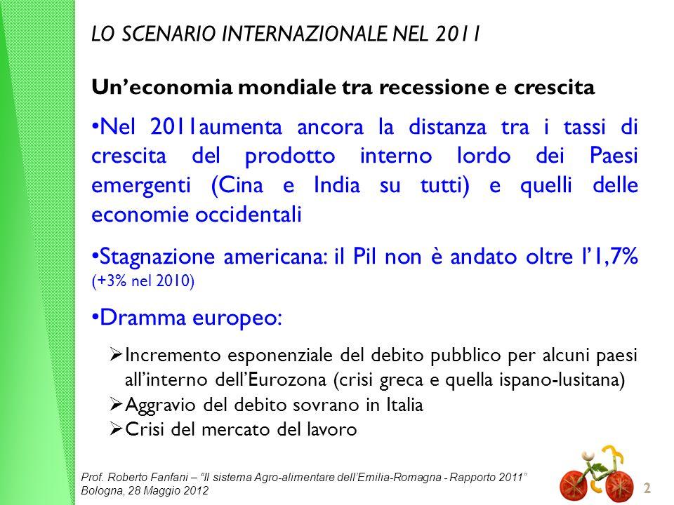 Prof. Roberto Fanfani – Il sistema Agro-alimentare dellEmilia-Romagna - Rapporto 2011 Bologna, 28 Maggio 2012 2 LO SCENARIO INTERNAZIONALE NEL 2011 Un