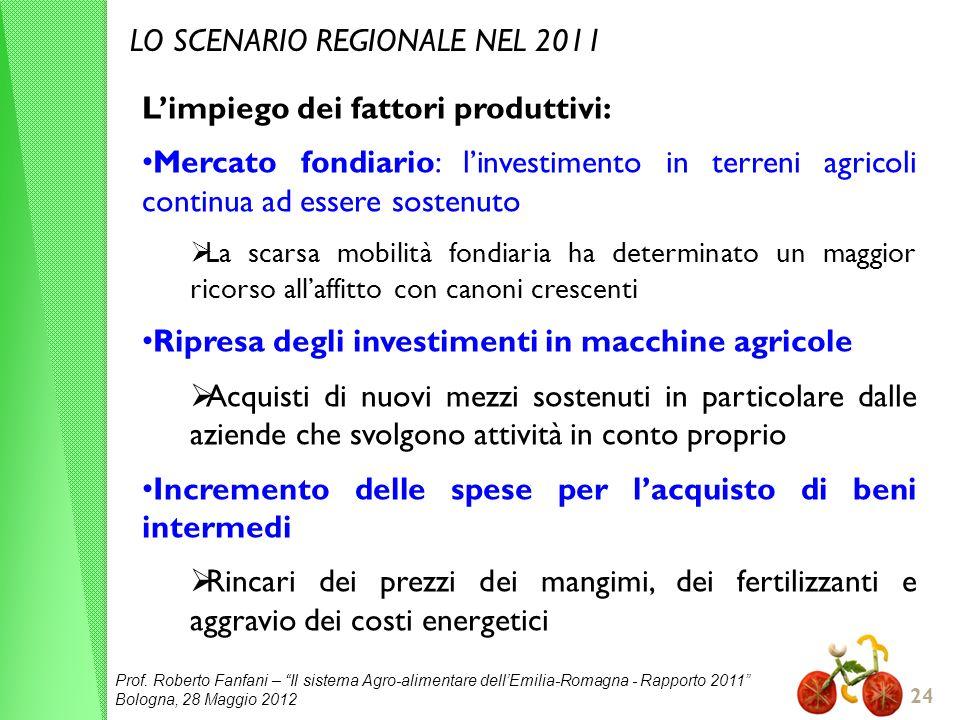 Prof. Roberto Fanfani – Il sistema Agro-alimentare dellEmilia-Romagna - Rapporto 2011 Bologna, 28 Maggio 2012 24 LO SCENARIO REGIONALE NEL 2011 Limpie