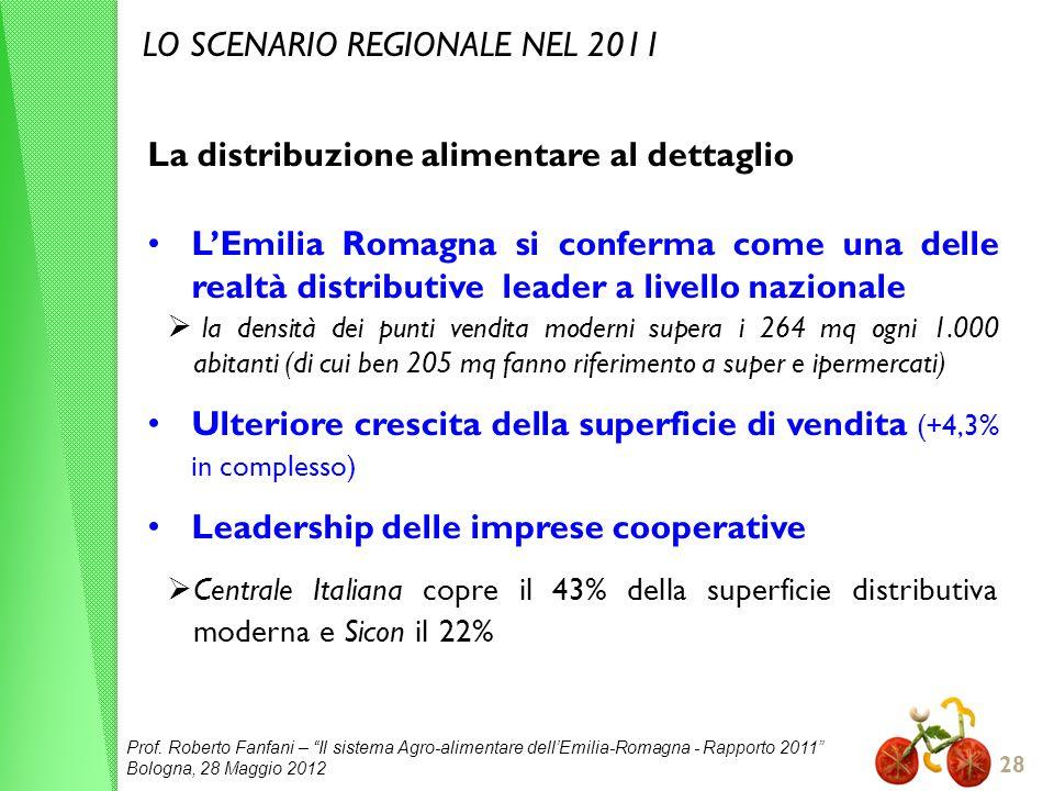 Prof. Roberto Fanfani – Il sistema Agro-alimentare dellEmilia-Romagna - Rapporto 2011 Bologna, 28 Maggio 2012 28 LO SCENARIO REGIONALE NEL 2011 La dis