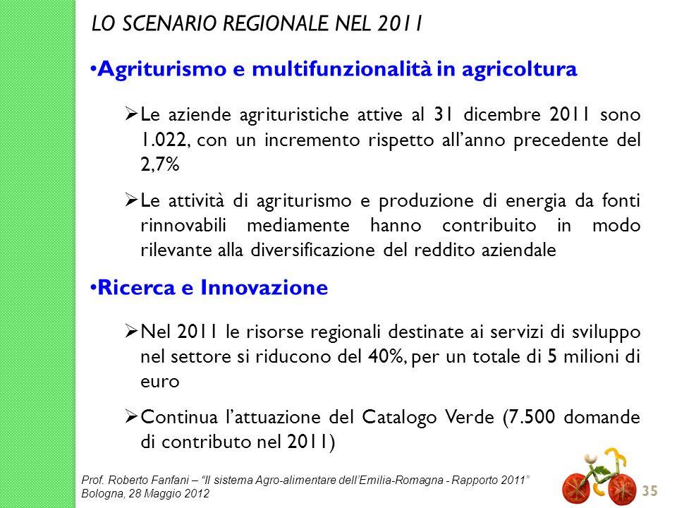 Prof. Roberto Fanfani – Il sistema Agro-alimentare dellEmilia-Romagna - Rapporto 2011 Bologna, 28 Maggio 2012 35 Agriturismo e multifunzionalità in ag