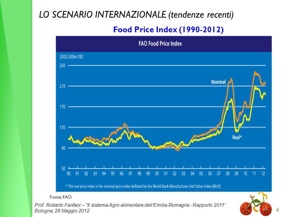 Prof. Roberto Fanfani – Il sistema Agro-alimentare dellEmilia-Romagna - Rapporto 2011 Bologna, 28 Maggio 2012 4 LO SCENARIO INTERNAZIONALE (tendenze r
