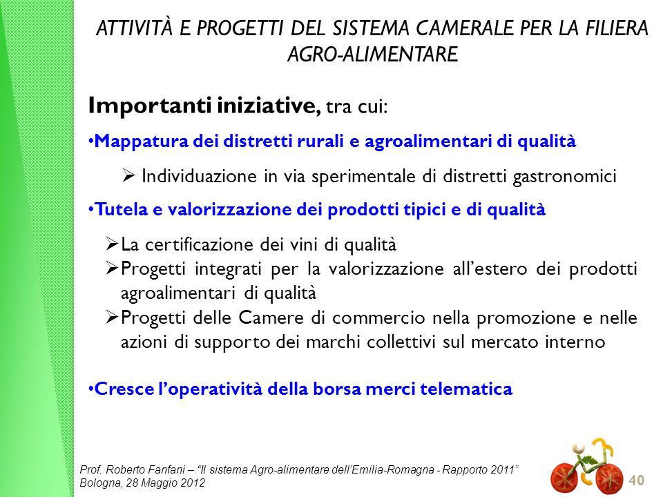 Prof. Roberto Fanfani – Il sistema Agro-alimentare dellEmilia-Romagna - Rapporto 2011 Bologna, 28 Maggio 2012 40 ATTIVITÀ E PROGETTI DEL SISTEMA CAMER