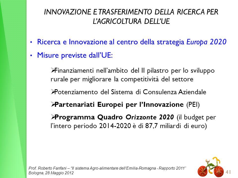 Prof. Roberto Fanfani – Il sistema Agro-alimentare dellEmilia-Romagna - Rapporto 2011 Bologna, 28 Maggio 2012 41 INNOVAZIONE E TRASFERIMENTO DELLA RIC
