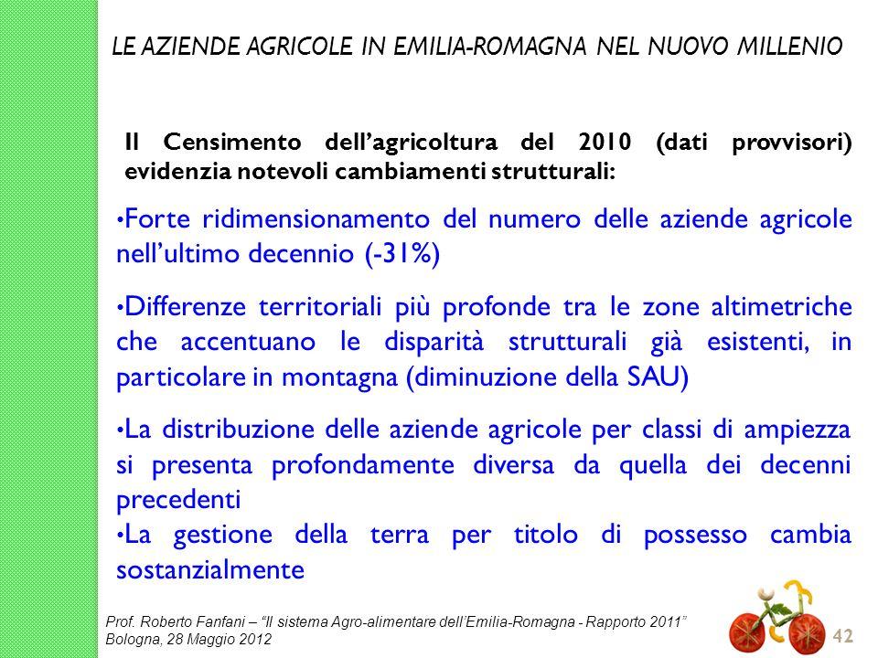 Prof. Roberto Fanfani – Il sistema Agro-alimentare dellEmilia-Romagna - Rapporto 2011 Bologna, 28 Maggio 2012 42 Il Censimento dellagricoltura del 201