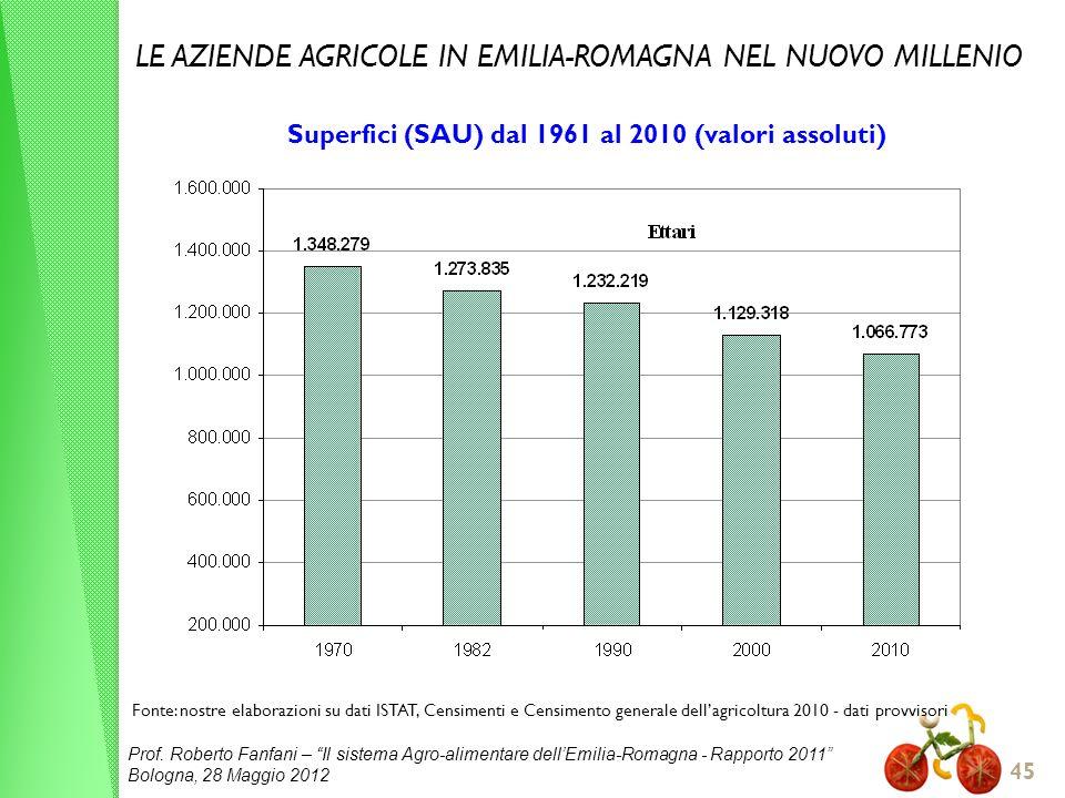 Prof. Roberto Fanfani – Il sistema Agro-alimentare dellEmilia-Romagna - Rapporto 2011 Bologna, 28 Maggio 2012 45 Superfici (SAU) dal 1961 al 2010 (val