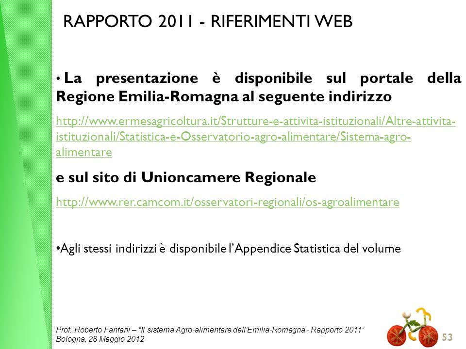 Prof. Roberto Fanfani – Il sistema Agro-alimentare dellEmilia-Romagna - Rapporto 2011 Bologna, 28 Maggio 2012 53 RAPPORTO 2011 - RIFERIMENTI WEB La pr