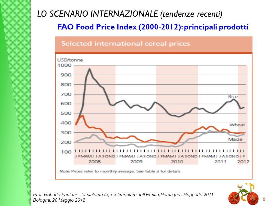 Prof. Roberto Fanfani – Il sistema Agro-alimentare dellEmilia-Romagna - Rapporto 2011 Bologna, 28 Maggio 2012 6 LO SCENARIO INTERNAZIONALE (tendenze r