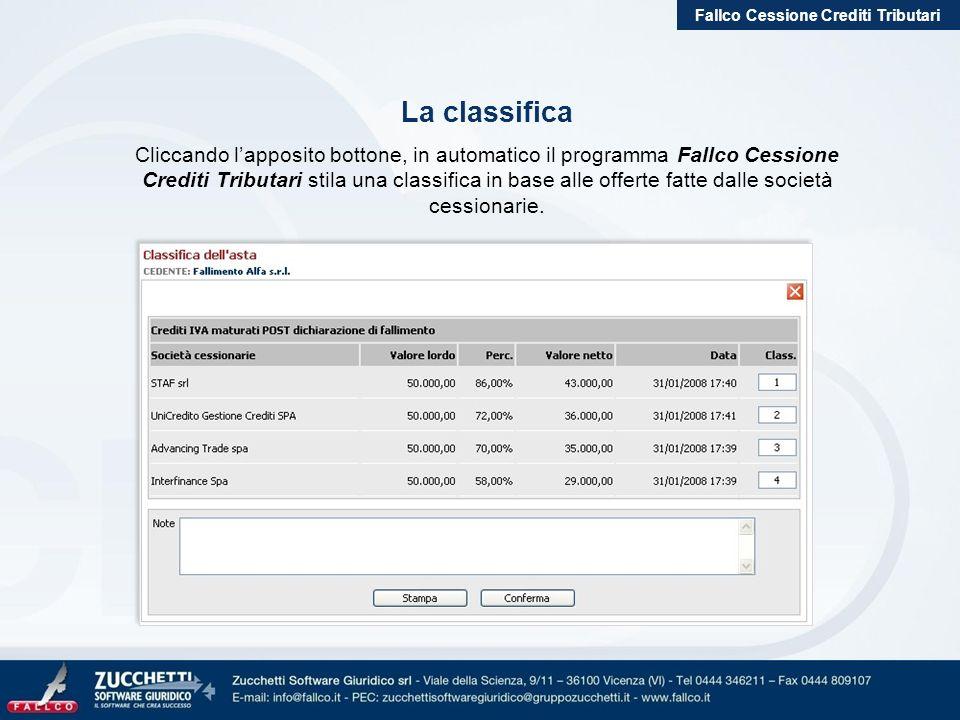 Fallco Cessione Crediti Tributari La classifica Cliccando lapposito bottone, in automatico il programma Fallco Cessione Crediti Tributari stila una cl