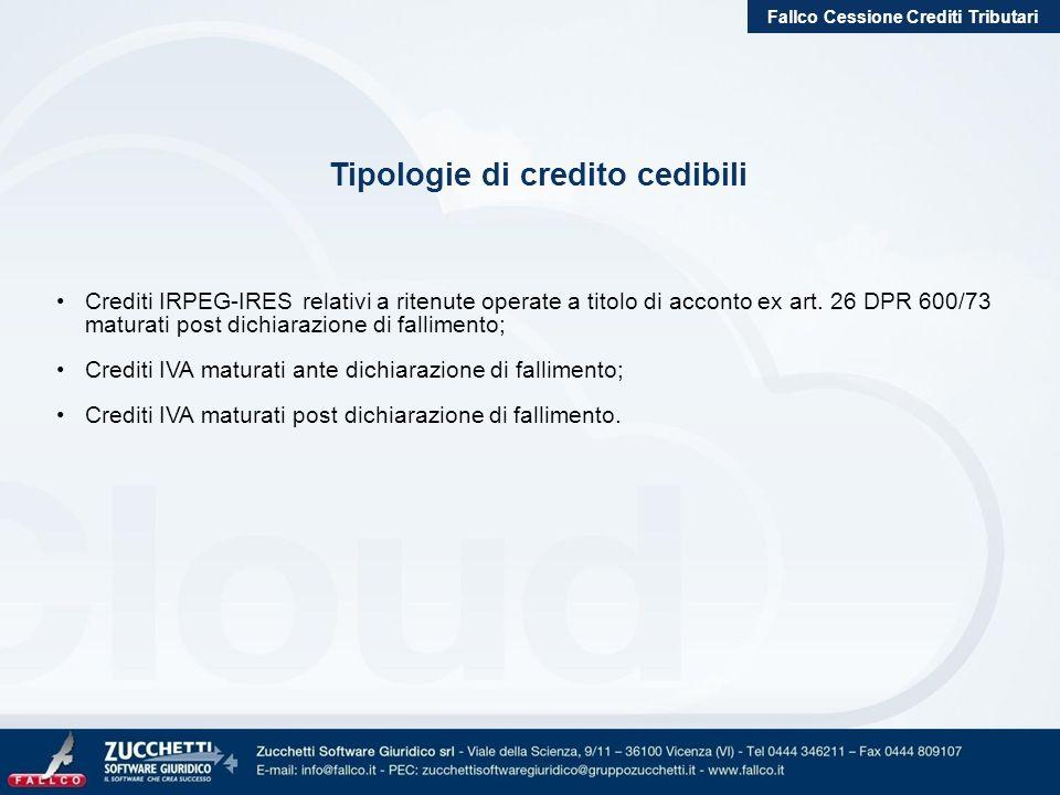 Fallco Cessione Crediti Tributari Tipologie di credito cedibili Crediti IRPEG-IRES relativi a ritenute operate a titolo di acconto ex art. 26 DPR 600/