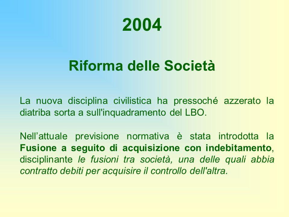 Riforma delle Società 2004 La nuova disciplina civilistica ha pressoché azzerato la diatriba sorta a sull'inquadramento del LBO. Nellattuale prevision