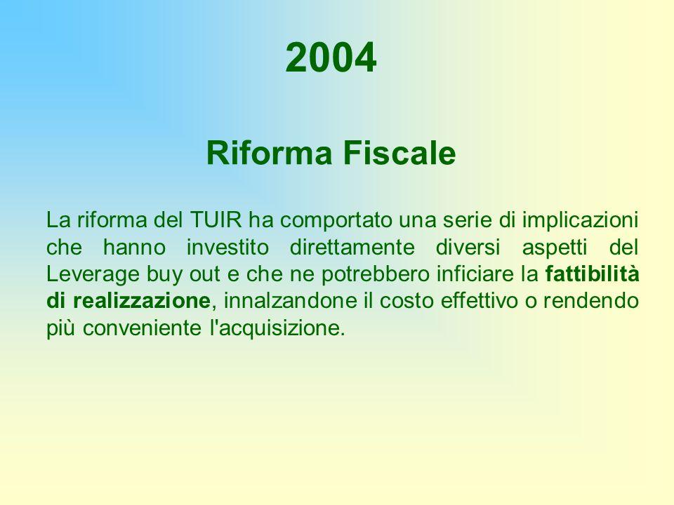 Riforma Fiscale 2004 La riforma del TUIR ha comportato una serie di implicazioni che hanno investito direttamente diversi aspetti del Leverage buy out