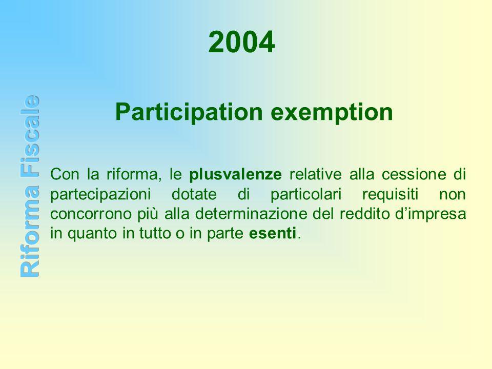 2004 Con la riforma, le plusvalenze relative alla cessione di partecipazioni dotate di particolari requisiti non concorrono più alla determinazione de