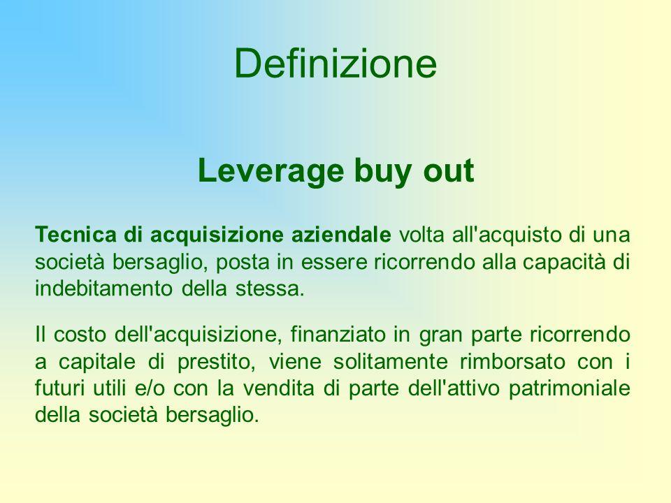 Definizione Leverage buy out Tecnica di acquisizione aziendale volta all'acquisto di una società bersaglio, posta in essere ricorrendo alla capacità d