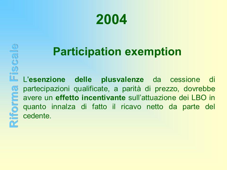 2004 Participation exemption L'esenzione delle plusvalenze da cessione di partecipazioni qualificate, a parità di prezzo, dovrebbe avere un effetto in