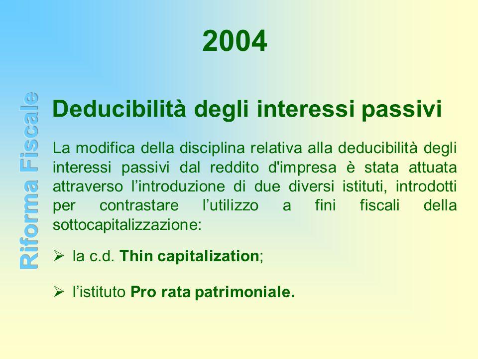 2004 La modifica della disciplina relativa alla deducibilità degli interessi passivi dal reddito d'impresa è stata attuata attraverso lintroduzione di