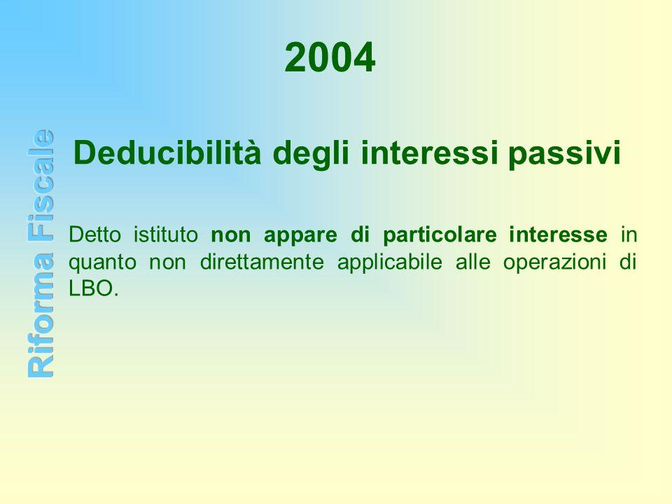 2004 Deducibilità degli interessi passivi Detto istituto non appare di particolare interesse in quanto non direttamente applicabile alle operazioni di