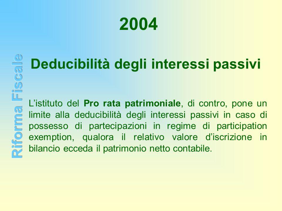 2004 Listituto del Pro rata patrimoniale, di contro, pone un limite alla deducibilità degli interessi passivi in caso di possesso di partecipazioni in