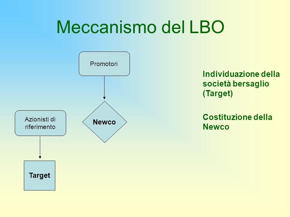 Promotori Newco Individuazione della società bersaglio (Target) Costituzione della Newco Target Azionisti di riferimento Meccanismo del LBO