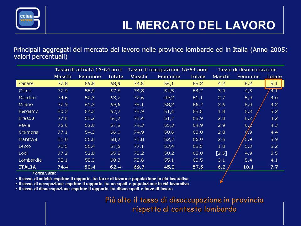 IL MERCATO DEL LAVORO Principali aggregati del mercato del lavoro nelle province lombarde ed in Italia (Anno 2005; valori percentuali) Fonte:Istat Più