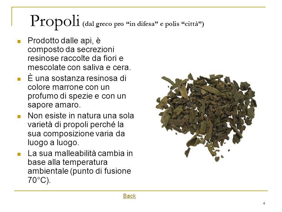 4 Propoli (dal greco pro in difesa e polis città) Prodotto dalle api, è composto da secrezioni resinose raccolte da fiori e mescolate con saliva e cer