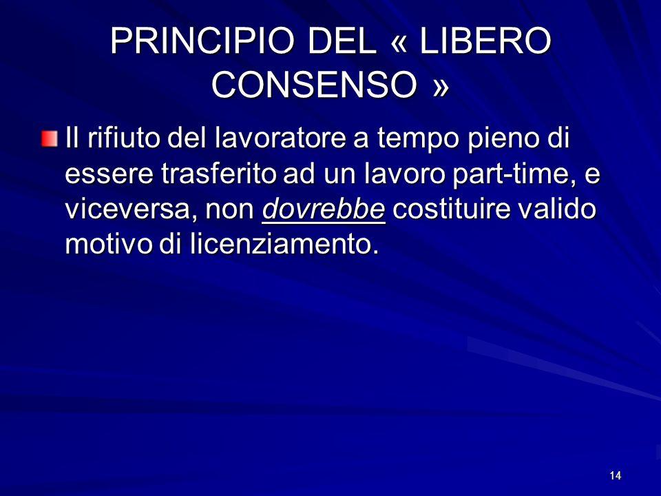 14 PRINCIPIO DEL « LIBERO CONSENSO » Il rifiuto del lavoratore a tempo pieno di essere trasferito ad un lavoro part-time, e viceversa, non dovrebbe co
