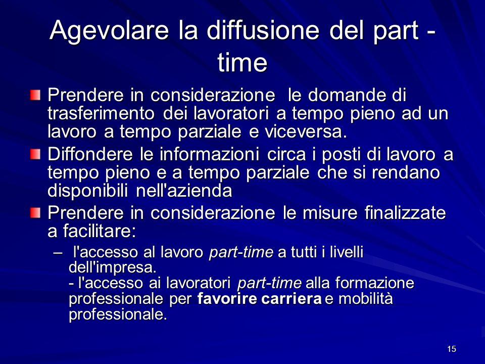 15 Agevolare la diffusione del part - time Prendere in considerazione le domande di trasferimento dei lavoratori a tempo pieno ad un lavoro a tempo pa