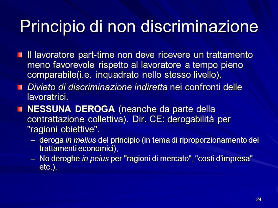 24 Principio di non discriminazione Il lavoratore part-time non deve ricevere un trattamento meno favorevole rispetto al lavoratore a tempo pieno comp