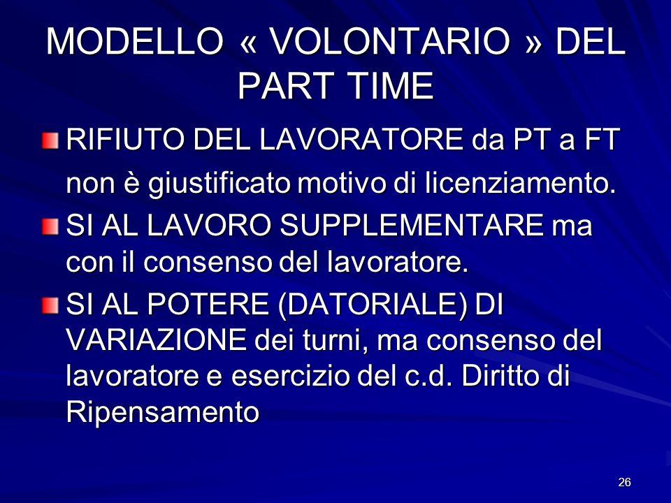 26 MODELLO « VOLONTARIO » DEL PART TIME RIFIUTO DEL LAVORATORE da PT a FT non è giustificato motivo di licenziamento. SI AL LAVORO SUPPLEMENTARE ma co