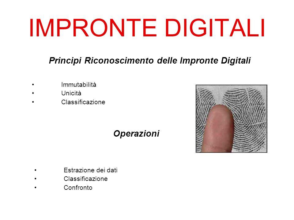 IMPRONTE DIGITALI Immutabilità Unicità Classificazione Principi Riconoscimento delle Impronte Digitali Operazioni Estrazione dei dati Classificazione Confronto