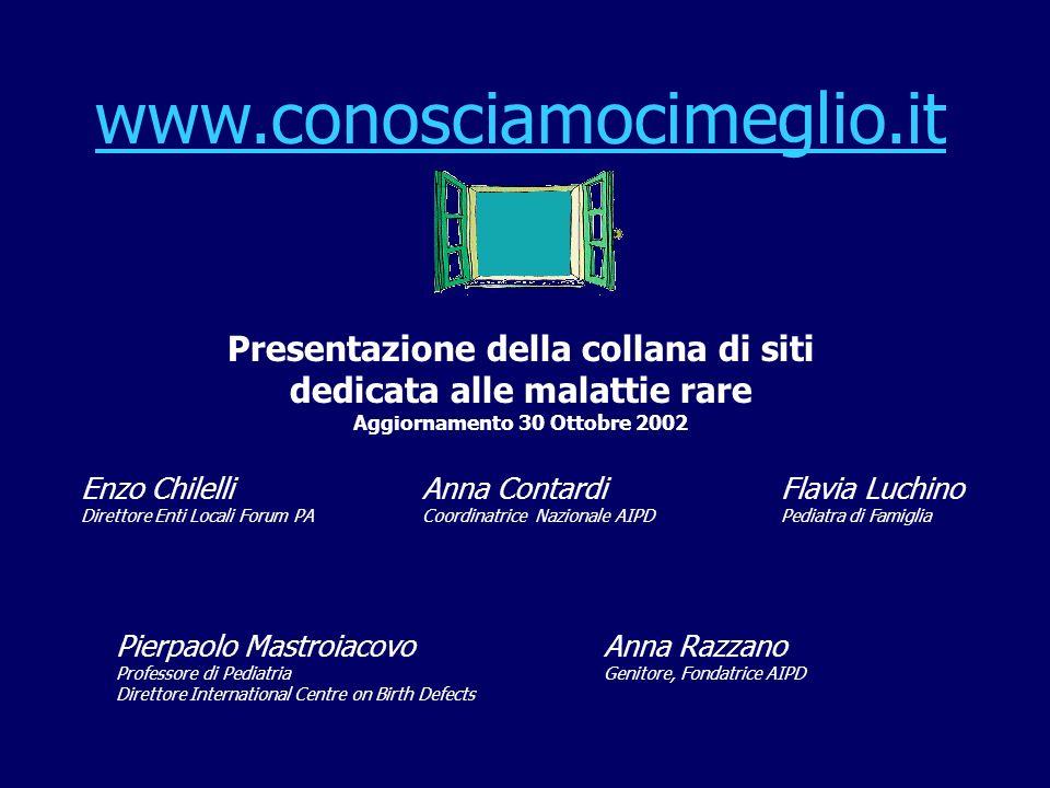 www.conosciamocimeglio.it Presentazione della collana di siti dedicata alle malattie rare Aggiornamento 30 Ottobre 2002 Pierpaolo Mastroiacovo Profess