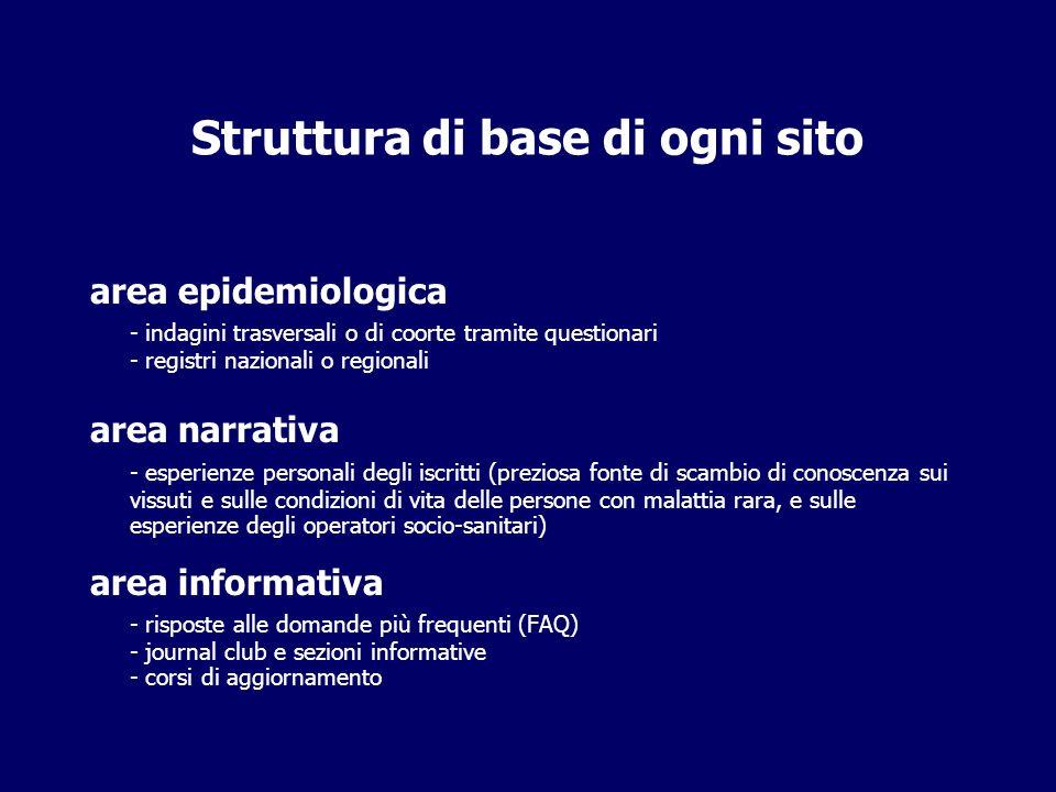 Struttura di base di ogni sito area epidemiologica - indagini trasversali o di coorte tramite questionari - registri nazionali o regionali area narrat