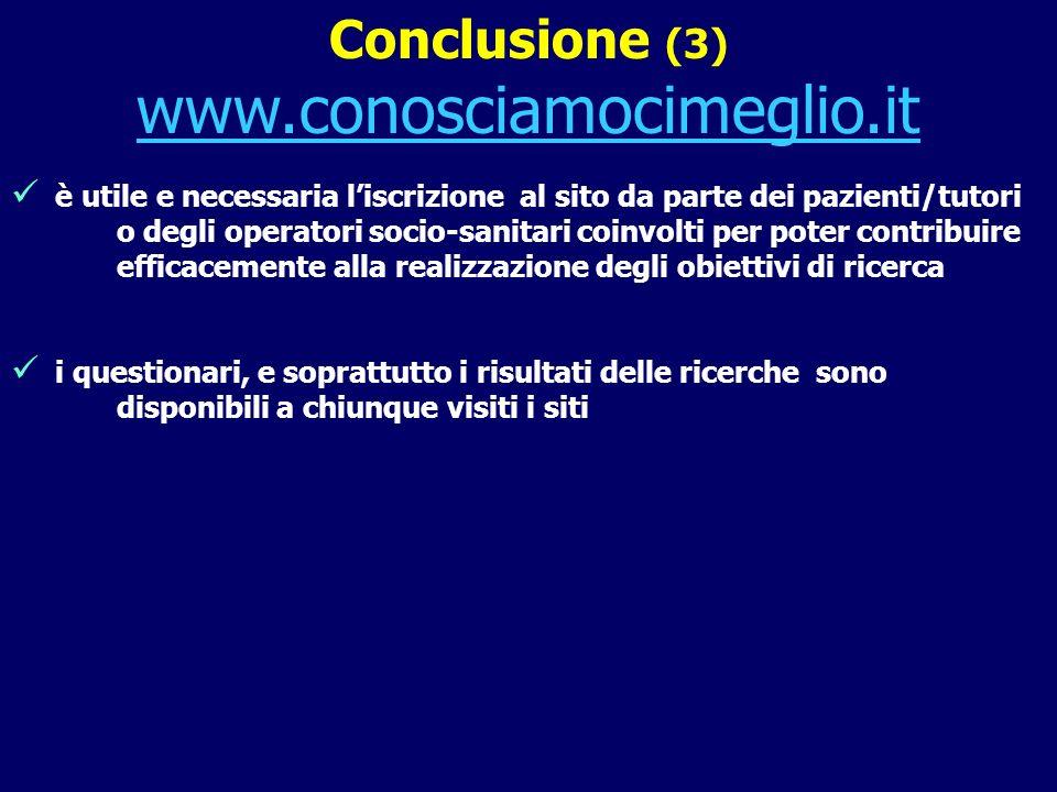 Conclusione (3) www.conosciamocimeglio.it è utile e necessaria liscrizione al sito da parte dei pazienti/tutori o degli operatori socio-sanitari coinv