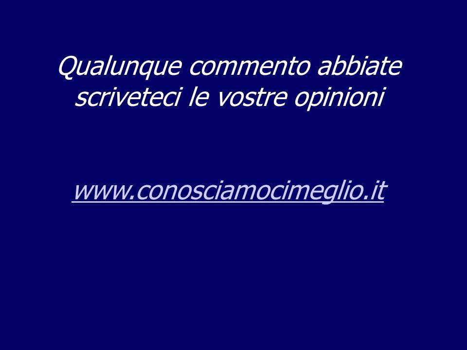 Qualunque commento abbiate scriveteci le vostre opinioni www.conosciamocimeglio.it