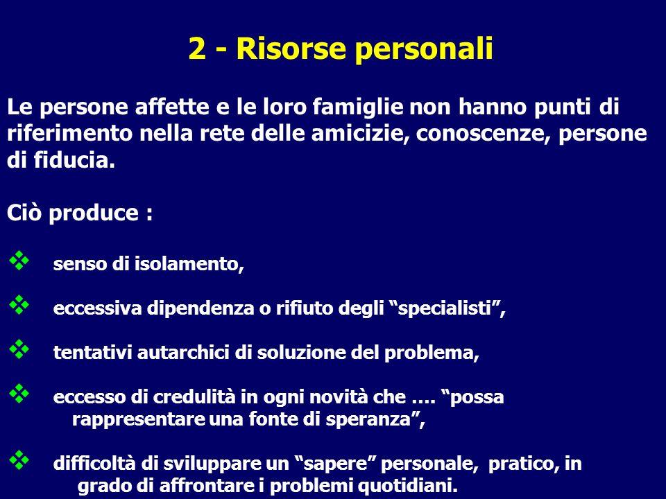 2 - Risorse personali Le persone affette e le loro famiglie non hanno punti di riferimento nella rete delle amicizie, conoscenze, persone di fiducia.