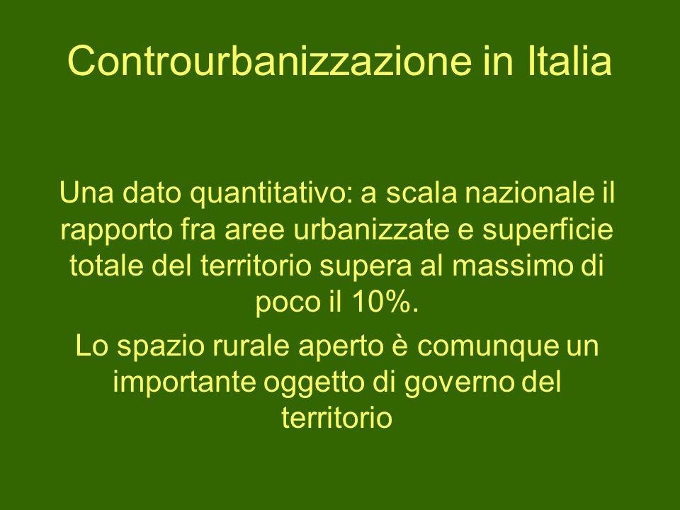 Controurbanizzazione in Italia Una dato quantitativo: a scala nazionale il rapporto fra aree urbanizzate e superficie totale del territorio supera al