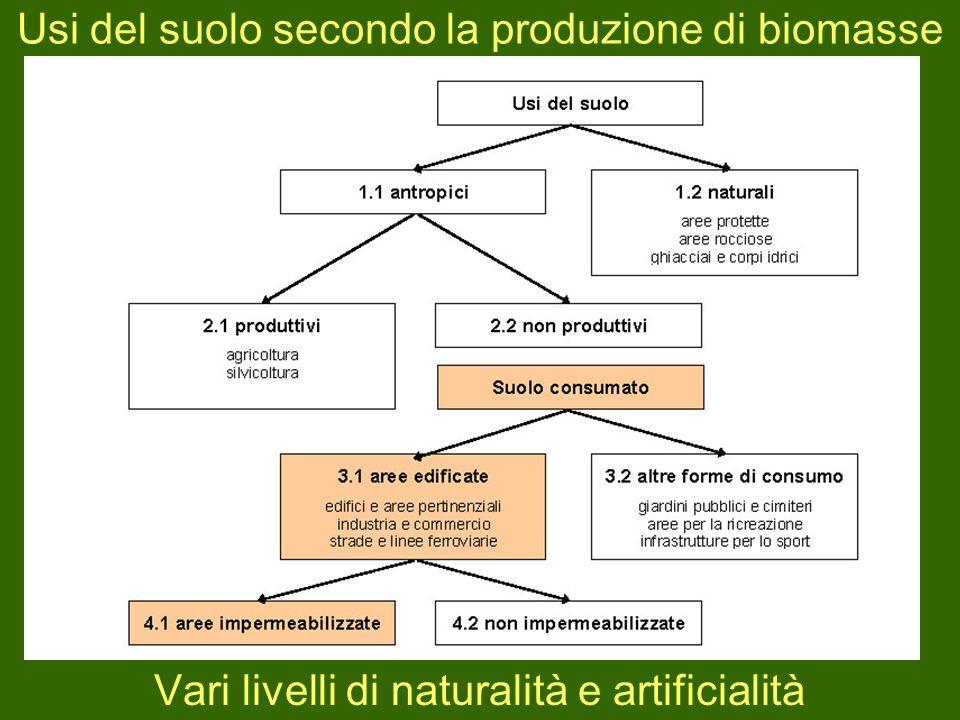 Usi del suolo secondo la produzione di biomasse Vari livelli di naturalità e artificialità
