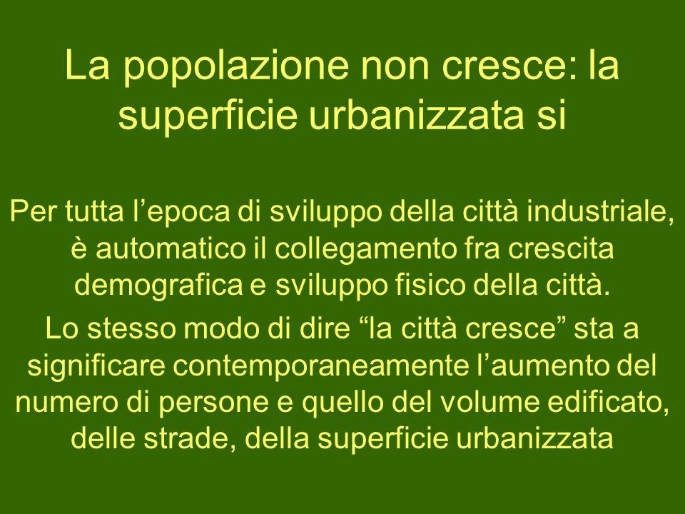 La popolazione non cresce: la superficie urbanizzata si Per tutta lepoca di sviluppo della città industriale, è automatico il collegamento fra crescit