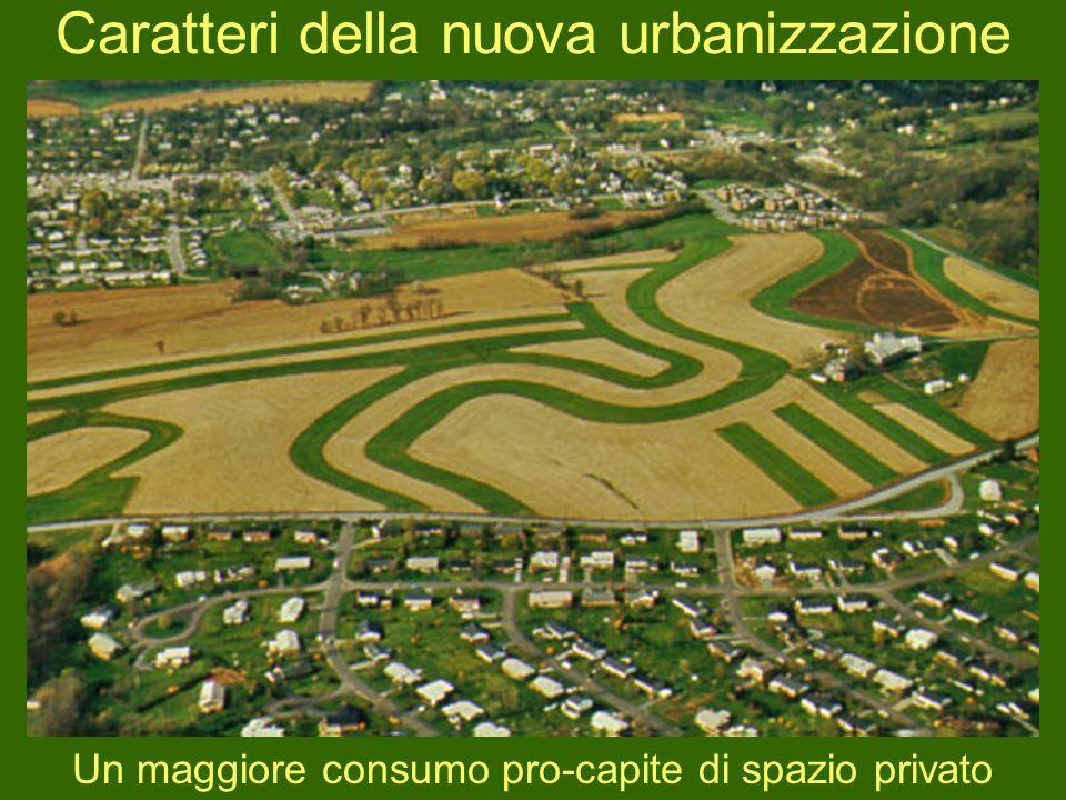 Caratteri della nuova urbanizzazione Un maggiore consumo pro-capite di spazio privato