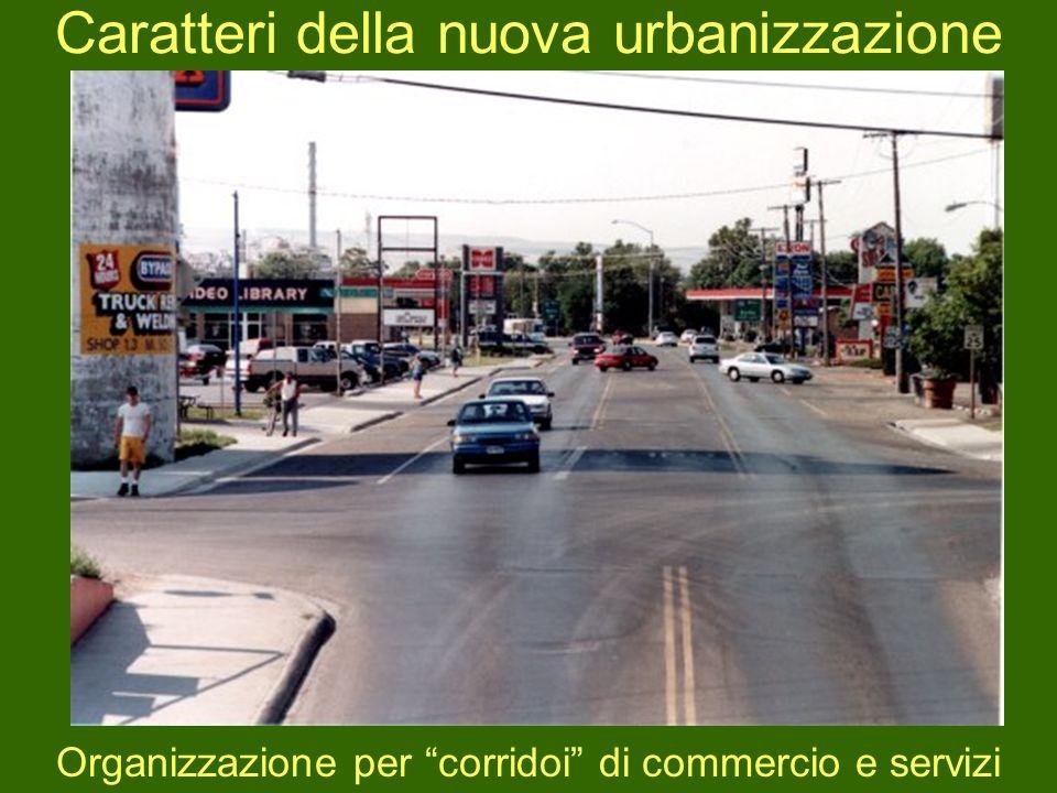 Caratteri della nuova urbanizzazione Organizzazione per corridoi di commercio e servizi