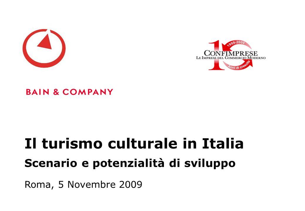 Roma, 5 Novembre 2009 Il turismo culturale in Italia Scenario e potenzialità di sviluppo