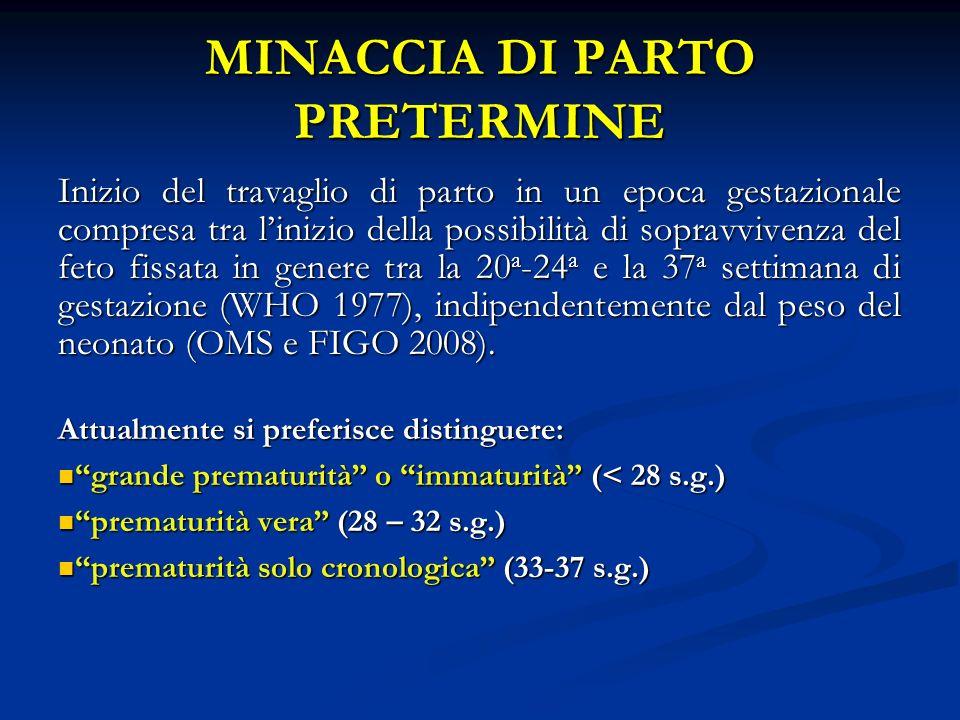 MINACCIA DI PARTO PRETERMINE Inizio del travaglio di parto in un epoca gestazionale compresa tra linizio della possibilità di sopravvivenza del feto fissata in genere tra la 20 a -24 a e la 37 a settimana di gestazione (WHO 1977), indipendentemente dal peso del neonato (OMS e FIGO 2008).