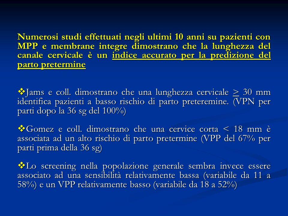 Numerosi studi effettuati negli ultimi 10 anni su pazienti con MPP e membrane integre dimostrano che la lunghezza del canale cervicale è un indice accurato per la predizione del parto pretermine Jams e coll.