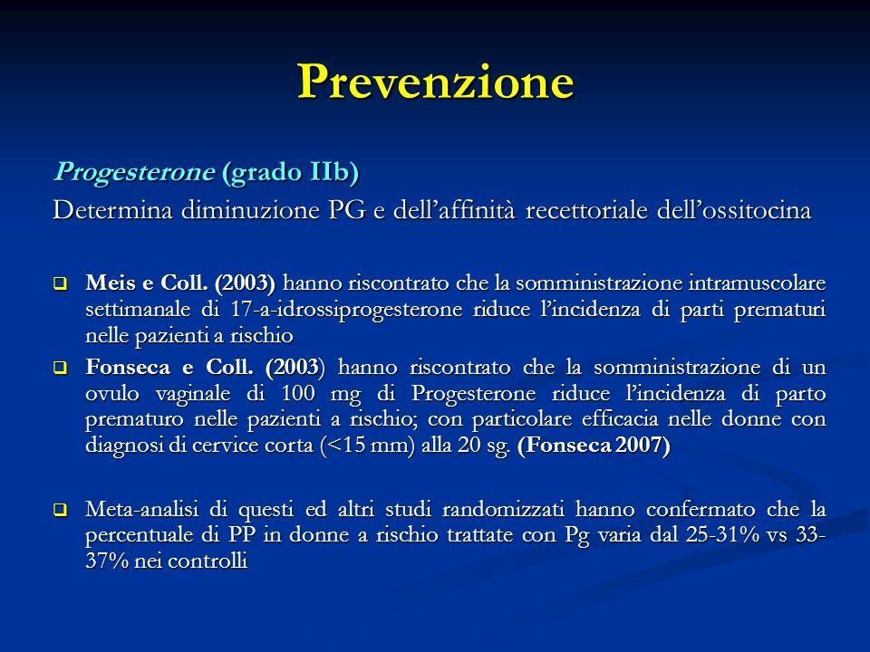 Prevenzione Progesterone (grado IIb) Determina diminuzione PG e dellaffinità recettoriale dellossitocina Meis e Coll.