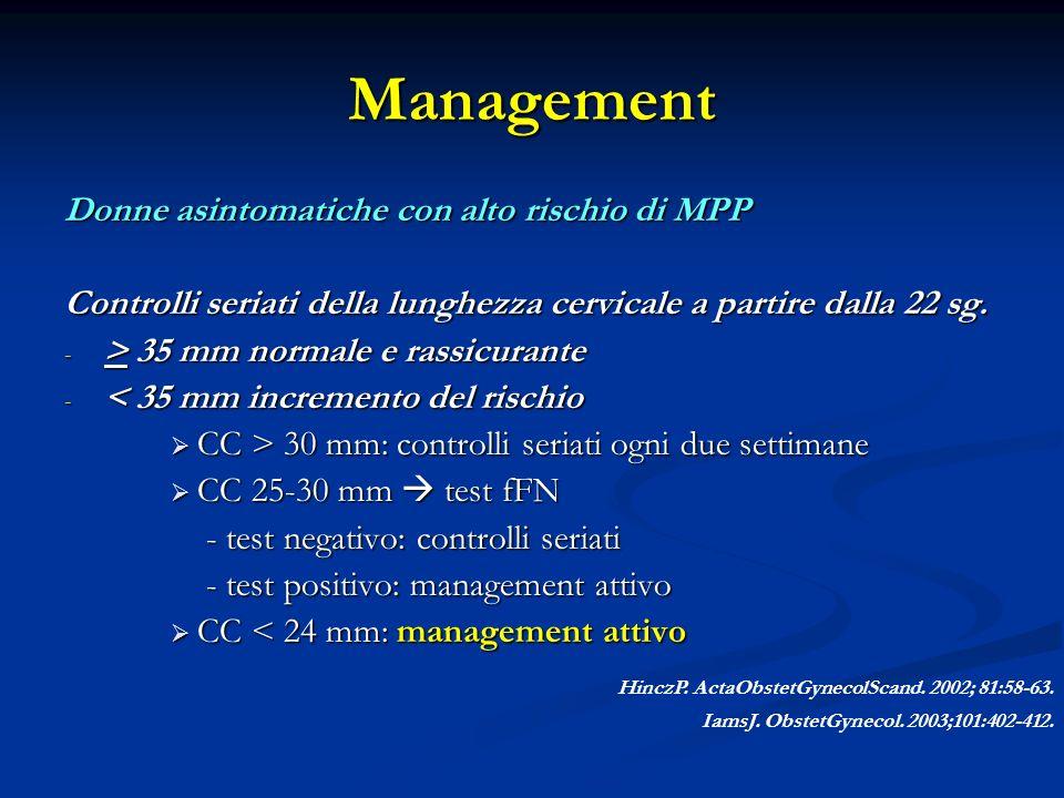 Management Donne asintomatiche con alto rischio di MPP Controlli seriati della lunghezza cervicale a partire dalla 22 sg.