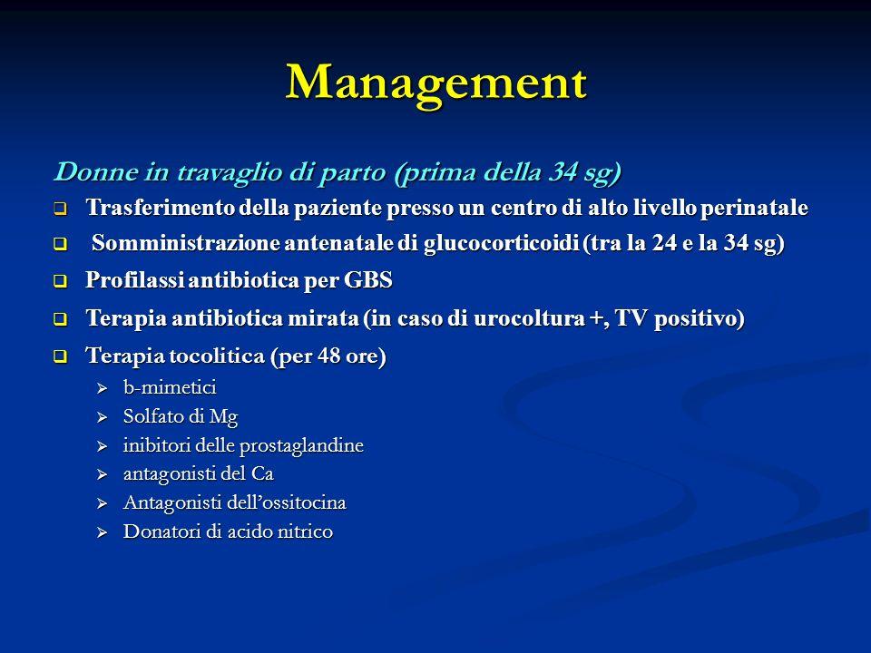 Management Donne in travaglio di parto (prima della 34 sg) Trasferimento della paziente presso un centro di alto livello perinatale Trasferimento della paziente presso un centro di alto livello perinatale Somministrazione antenatale di glucocorticoidi (tra la 24 e la 34 sg) Somministrazione antenatale di glucocorticoidi (tra la 24 e la 34 sg) Profilassi antibiotica per GBS Profilassi antibiotica per GBS Terapia antibiotica mirata (in caso di urocoltura +, TV positivo) Terapia antibiotica mirata (in caso di urocoltura +, TV positivo) Terapia tocolitica (per 48 ore) Terapia tocolitica (per 48 ore) b-mimetici b-mimetici Solfato di Mg Solfato di Mg inibitori delle prostaglandine inibitori delle prostaglandine antagonisti del Ca antagonisti del Ca Antagonisti dellossitocina Antagonisti dellossitocina Donatori di acido nitrico Donatori di acido nitrico