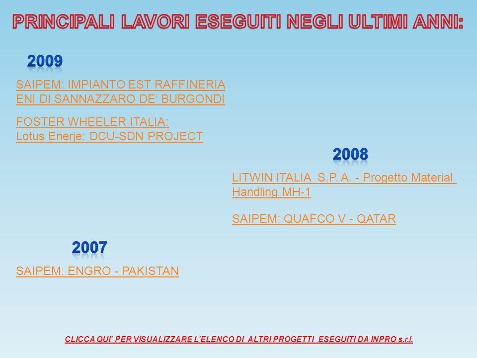 SAIPEM: IMPIANTO EST RAFFINERIA ENI DI SANNAZZARO DE BURGONDI FOSTER WHEELER ITALIA: Lotus Enerje: DCU-SDN PROJECT LITWIN ITALIA S.P.
