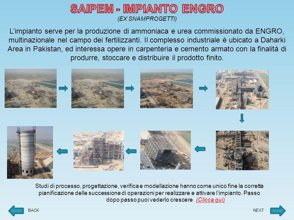 Limpianto serve per la produzione di ammoniaca e urea commissionato da ENGRO, multinazionale nel campo dei fertilizzanti.